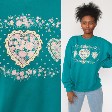 Heart Sweatshirt Teal Green Sweater Floral Sweatshirt 80s Novelty Slouchy Kitsch Pullover 90s Slouch Top Extra Large xl l by ShopExile