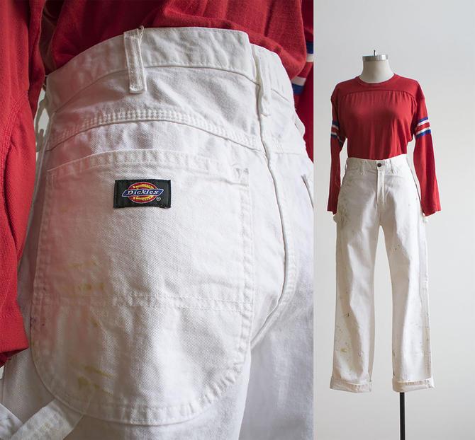 Vintage Dickies Carpenter Pants / White Carpenter Pants / Vintage Workwear / Dickies White Denim Carpenter Pants / Workwear Pants 32 x 32 by milkandice