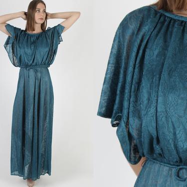 Vintage 70s Grecian Long Teal Draped Dress 1970s Goddess Boho Aqua Floral Bridal Disco Party Sheer Womens Split Sleeve Maxi Dress by americanarchive