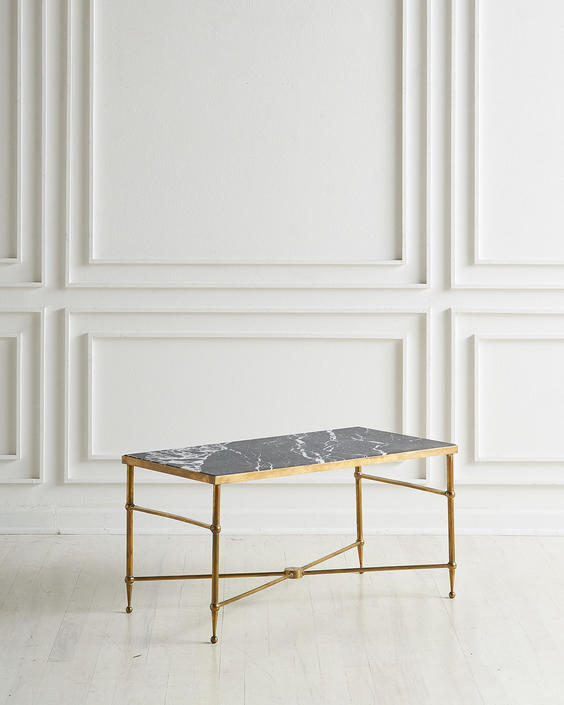 X Base French Brass Coffee Table with Honed Nero Marquina Marble Top