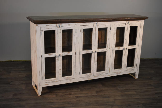 Rustic Solid Wood Distressed White TV Console China Cabinet Bookcase Sideboard By RusticShop1