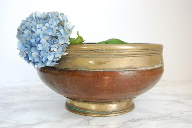Vintage Wood Bowl Brass Rim Antique Wood Brass Centerpiece by PursuingVintage1