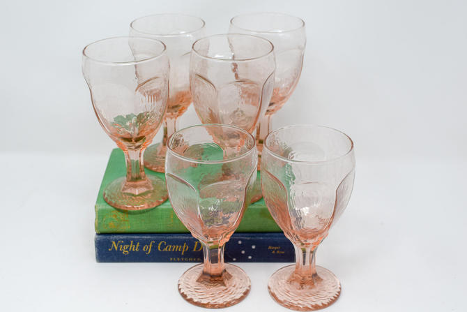 Set of 6 Vintage Pink Glasses by CapitolVintageCharm