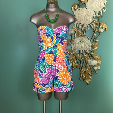 1980s romper, liz Claiborne, vintage 80s romper, tropical print, 1940s style, size x small, strapless, one piece shorts, 2425 waist, batik by BlackLabelVintageWA