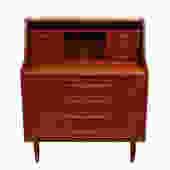 Randers Danish Modern Teak Compact Secretary / Desk with 'Pontiac' Pulls
