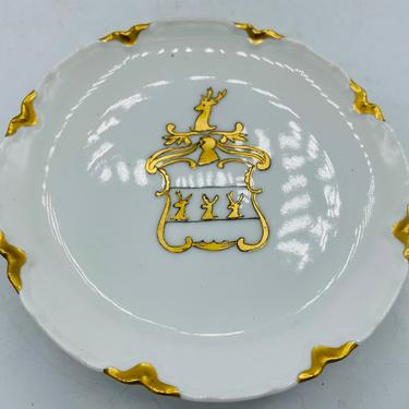 """Antique Haviland H&Co L France Limoges Antique Pedestal Small 6""""  Serving Plate Hand Painted Reindeer Coat of Arms- Chip Free - circa 1880's by JoAnntiques"""
