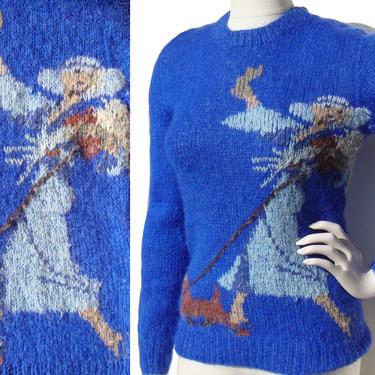 Vintage Blue Retro Sweater Lady & Dog Novelty Knit S / M by MetroRetroVintage