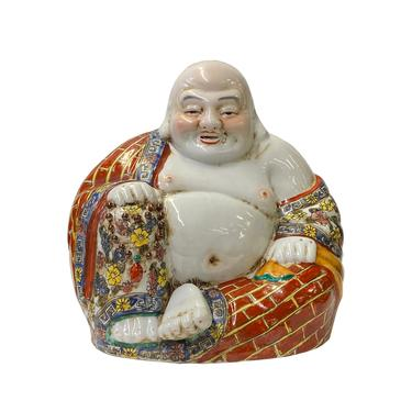 Chinese Canton Mix Ceramic Happy Laughing Buddha Statue ws1604E by GoldenLotusAntiques