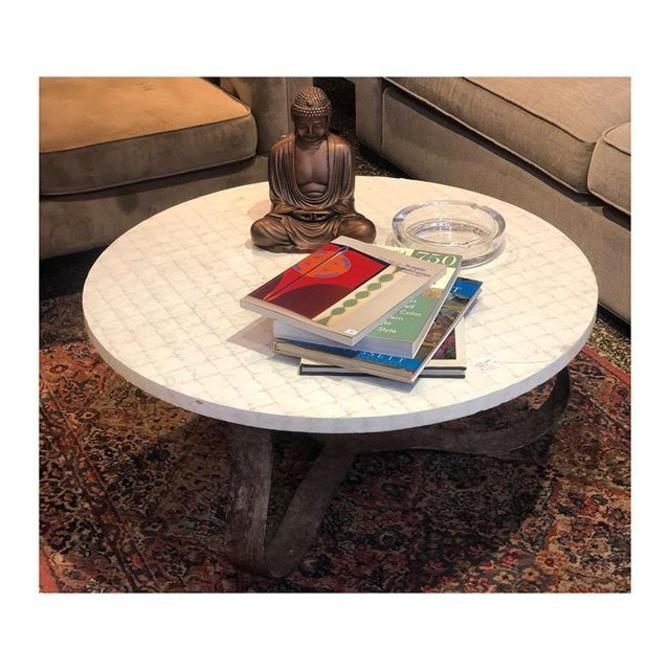 White Coffee Table with Rustic Base //