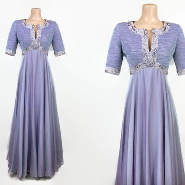 VINTAGE 1980s Victor Costa Iridescent Lavender Floating Formal Gown | 80s Beaded Formal Cocktail Dress | Empire Waist Juliette Dress | 4 by IntrigueU4Ever