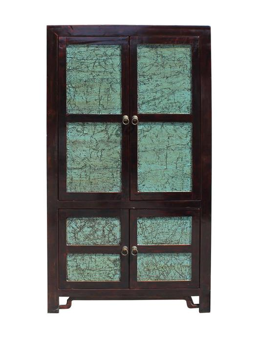 Chinese Distressed Turquoise Brown Large Armoire Warbrobe Cabinet cs2708E by GoldenLotusAntiques