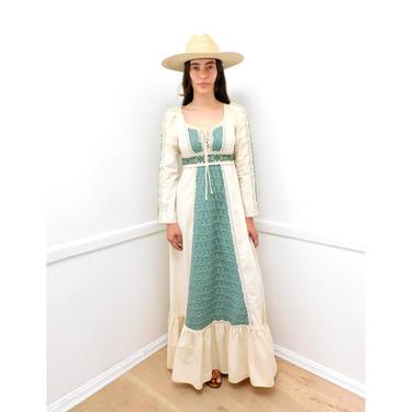 Gunne Sax Corset Dress // vintage 70s boho hippie wedding 1970s cotton hippy white country empire waist high prairie crochet maxi // XS/S by FenixVintage