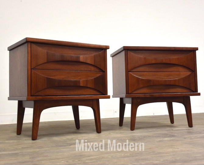 Sculpted Walnut MCM Nightstands- a Pair by mixedmodern1