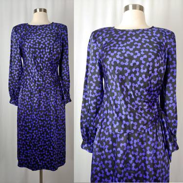 Albert Nipon 90s XS Purple Black Floral Silk Blouse and Skirt Set - Nineties Flower Print Silk Set by JanetandJaneVintage