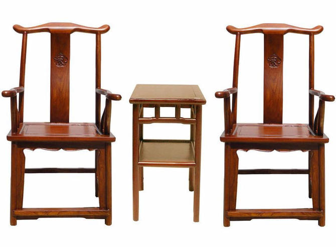 Chinese Traditional Elm Wood Yoke-Back Armchair With Small Table , General Chair vs609E by GoldenLotusAntiques