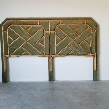 Vintage Chippendale Bamboo and Olive Green Velvet King Size Headboard by MIAMIVINTAGEDECOR