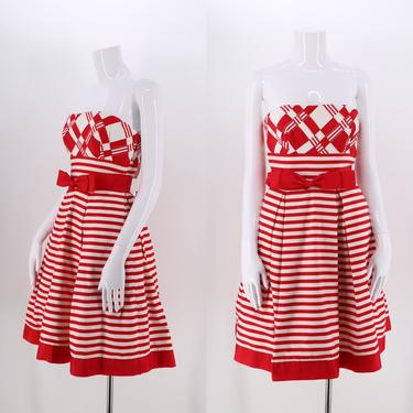 80s VICTOR COSTA striped cocktail dress size 6 / vintage 1980s candy cane striped strapless pouf dress red & white by ritualvintage