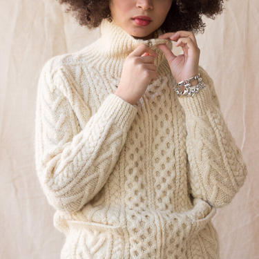 1990s Creme Wool Zippered Fisherman Sweater by waywardcollection