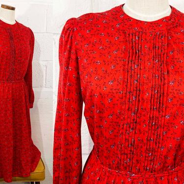 Vintage Red Floral Dress 70s Red Leslie Fay Union Made Lord & Taylor 1970s Pleated Front Long Sleeve Fit Flare Midi Large XL by CheckEngineVintage