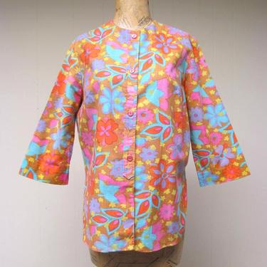 """Vintage 1960s Linen Floral Print Blouse, Bright Psychedelic Playmaker Tunic Top, Medium 40"""" Bust by RanchQueenVintage"""