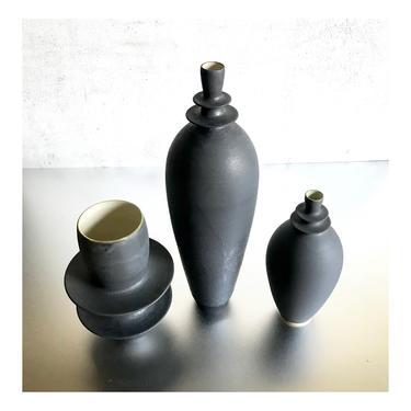 SHIPS NOW- 3 Slate Matte Stoneware Handmade Ceramic Flanged Vases by Sara Paloma Pottery. minimal industrial modern bud vase black matte by sarapaloma