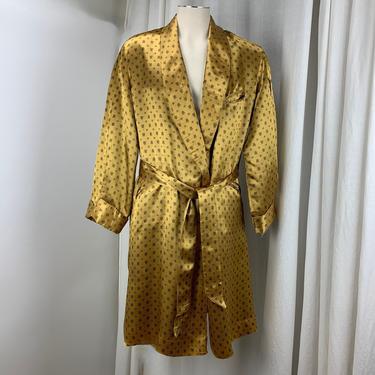 1950'S Satin Lounge Robe - Silky Rayon/Acetate Printed Fabric - Black Satin Lining - 3 Slash Pockets - Matching Sash - Mens Size Medium by GabrielasVintage