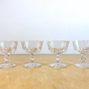Clear Swirl Glass Footed Coupe Glasses, Set of 4 Vintage Cocktail Water Goblet Compotes by ArchiveHomeVintage