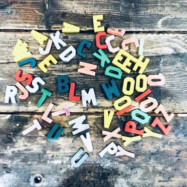 Lot of Letters | Lot of ABC | ABC Wooden Letters | Bulk Wood Letters | Craft Letters | Scrabble | ABC Blocks | Names | Initials Mixed Media by PiccadillyPrairie