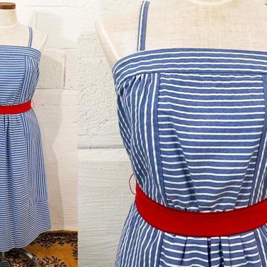 Vintage Striped Blue Sundress Striped White Sun Dress Sleeveless 1970s 70s Boho Midi Summer Thin Straps XS Small by CheckEngineVintage