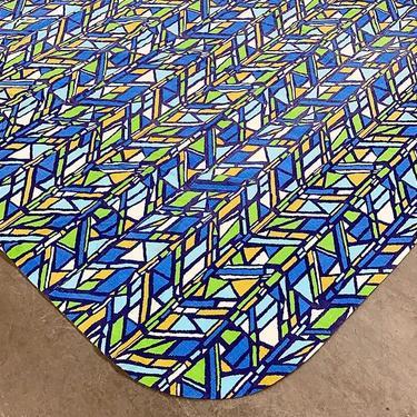 Vintage Bedspread 1970s Retro Size 110x90 Bohemian + Geometric Print + Blue, Green, Yellow, White + Rounded Corners + Bedding + Textile by RetrospectVintage215