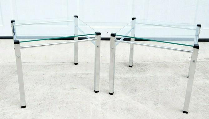 Vtg FLOATING & GLASS CHROME SIDE TABLE PAIR Space Age MCM Knoll Baughman Eames