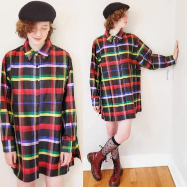 Vintage Silk Plaid Button Down Top Tunic Oversized / Deadstock Norah Noh Long Sleeved Multicolored Jewel Tone Shirt or Mini Dress / Gilberte by RareJuleVintage