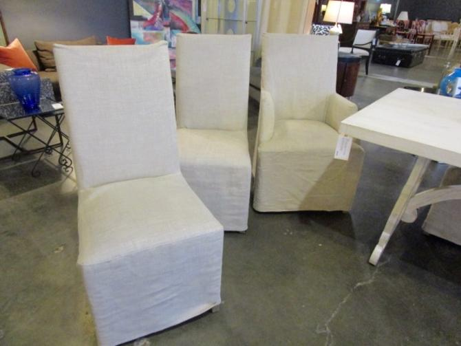 SET OF 8 RESTORATION HARDWARE SLIPCOVER HUDSON PARSONS CHAIRS