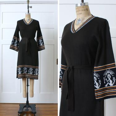 RESERVED vintage 1970s knit boho dress • bell sleeve brown sweater dress with belt by LivingThreadsVintage