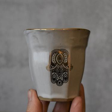 Hamsa Ceramic Espresso Cup, whiteand gold Espresso mugs, 4 oz cup, Macchiato cup, coffee lover gifts, Housewarming gift by claylicious