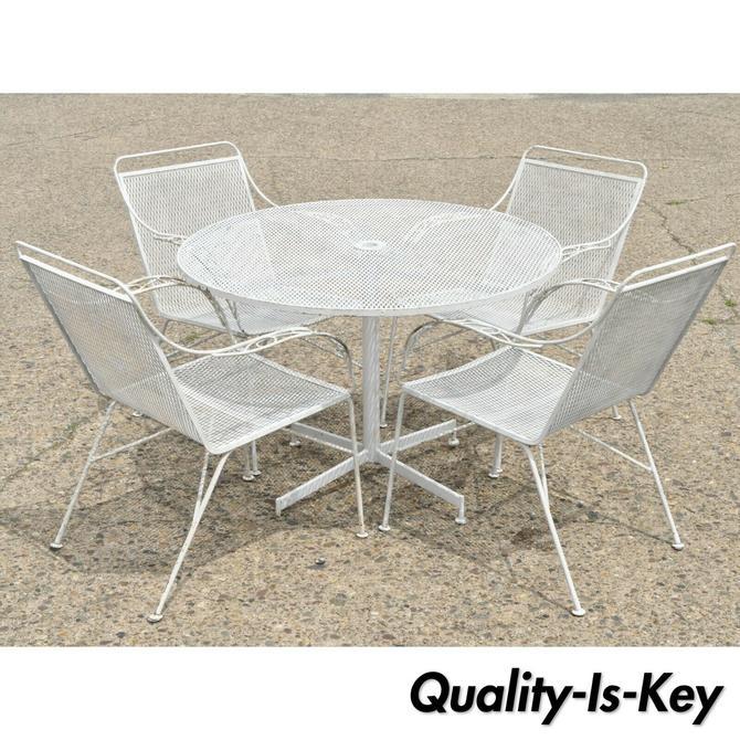 Mid Century Modern Wrought Iron 5 Pc Patio Garden Dining Set 4 Chair Round Table