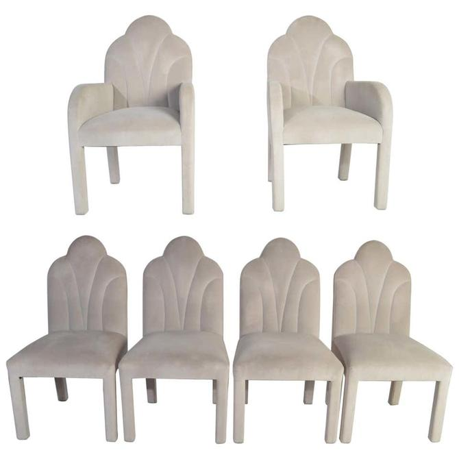 Art Deco Revival Hollywood Regency Dining Chairs in Soft Velvet