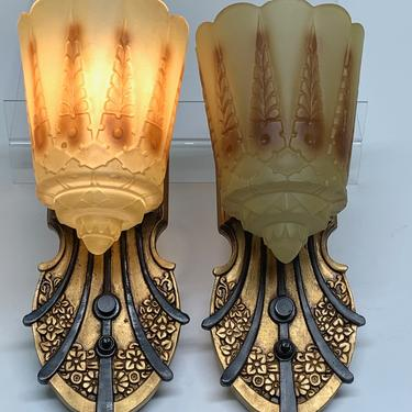 Lincoln Two-in-One Art Deco Sconces (six available) #2039 by vintagefilament