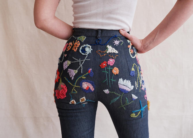 Vintage 60s 70s Hand Embroidered Kick Flare Jeans/ 1960s 1970s High Waisted Flower Embroidery Pants/ Size XS 24 by bottleofbread