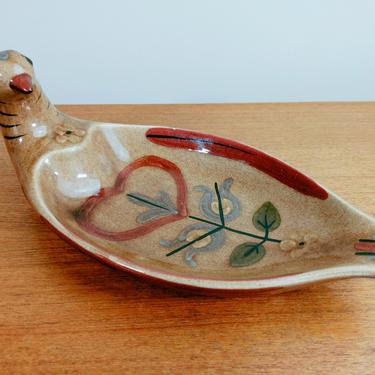 Vintage California Cleminson Pottery Bird Dish | Distlefink | Platter Bowl Bread Plate | Pennsylvania Dutch Folk Art by TheFeatheredCurator