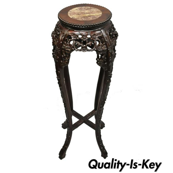 Antique Carved Hardwood Rosewood Marble Top Chinese Pedestal Table Plant Stand E