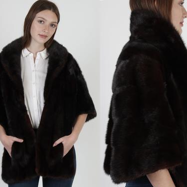 Genuine Mahogany Mink Fur Stole / Dark Brown Natural Real Mink Fur Wrap / Vintage 60s Wedding Fur Cape / 1960s Bolero Shrug With Pockets by americanarchive