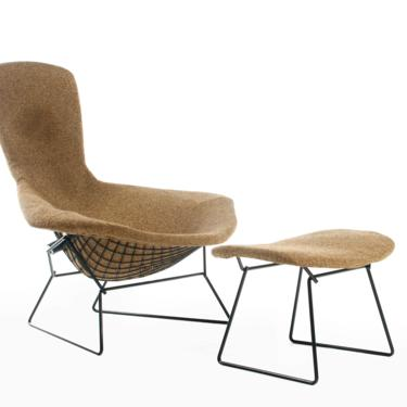 Authentic Bird Lounge Chair by Harry Bertoia for Knoll in Original Oatmeal Fabric w/ Ottoman by ABTModern