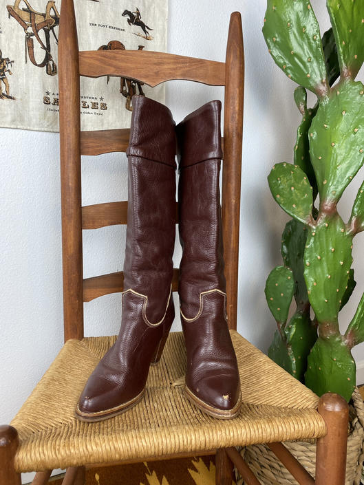 Vintage 1970s Tall Reddish Brown Leather Dexter Zodiac Boots Womens 8 1/2 by DesertCactusVintage