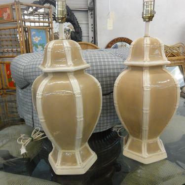Pair of Faux Bamboo Ginger Jar Lamps