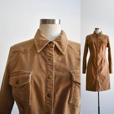 Brown Corduroy Western Shirt Dress by milkandice