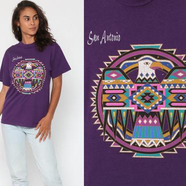 Native American Shirt 90s Eagle THUNDERBIRD T Shirt San Antonio Texas 80s Graphic Tshirt 1990s Vintage Retro Tee Purple Small Medium by ShopExile