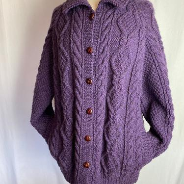 Wool cable knit cardigan sweater~ thick warm cozy button up with pockets~ purple eggplant color~ large oversized women's or unisex by HattiesVintagePDX