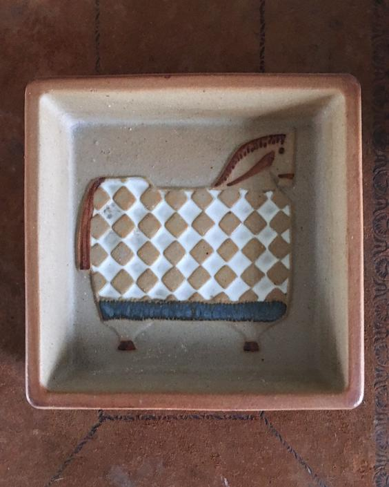 Lisa Larson Style Plate Vintage Pottery sculpture Gustavsberg by CaribeCasualShop