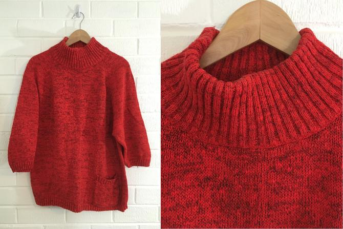 Vintage Red Sweater 90s Marled 1990s 3/4 Sleeves Jamie Scott Turtle Neck Pocket Knit Women's Large L by CheckEngineVintage